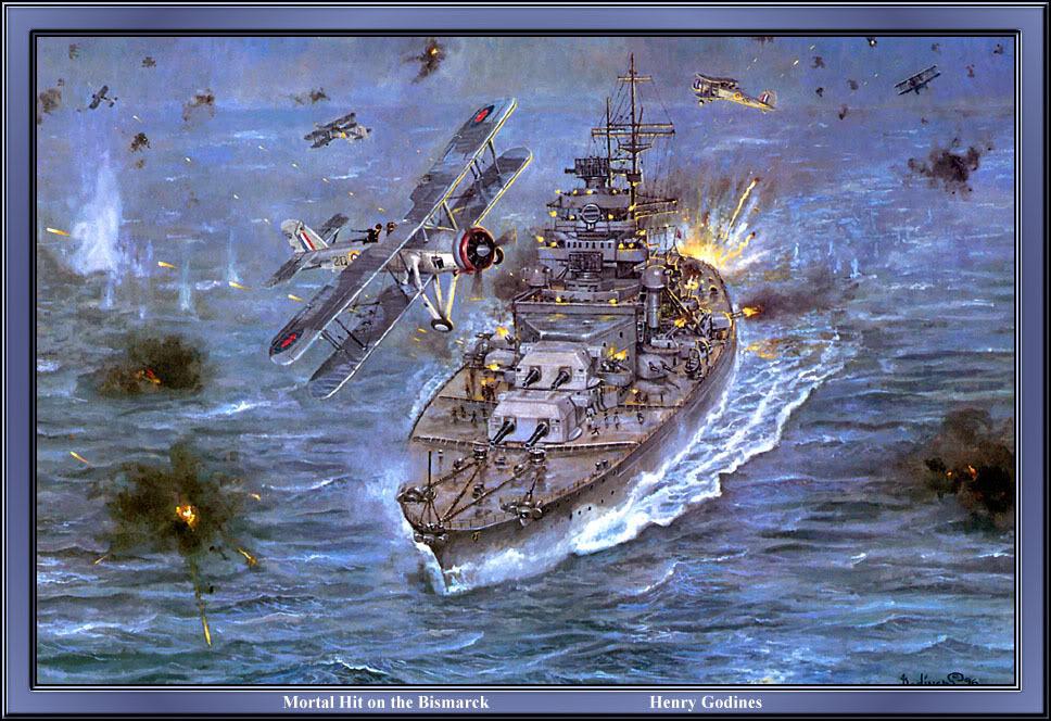 Couraçado Bismark sendo destruído por aviões dos aliados.